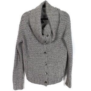 Theory Large Grey Knit Cowl Neck Cardigan